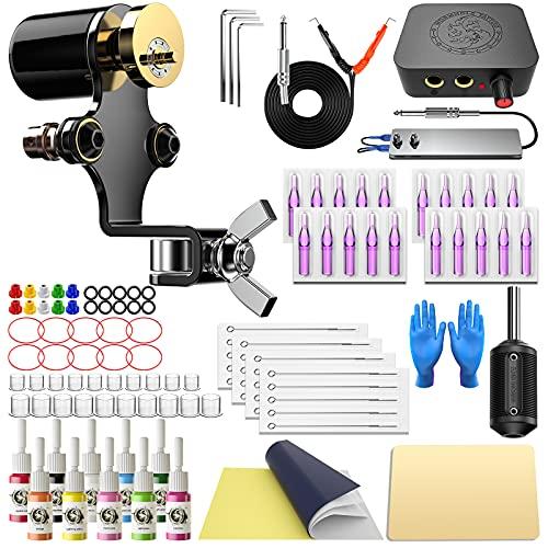 Wormhole Tattoo Kit Rotary Tattoo Machine Kit 10 Tattoo Ink 20 Tattoo Needles Complete Tattoo Kit...