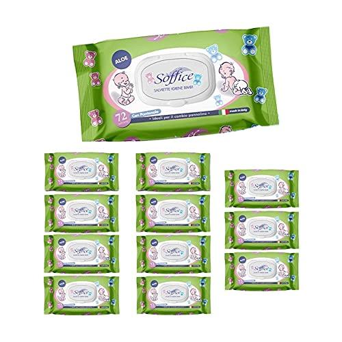 Soffice Toallitas Baby Aloe con tapón 12 paquetes x 72 toallitas – 370 g