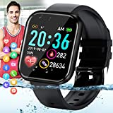 Peakfun Smart Watch,Fitness Watch Activity Tracker with Heart Rate Blood Pressure Monitor IP67 Waterproof Touch Screen Bluetooth Smartwatch Sports Watch for Android iOS Phones Men Women Kids Black