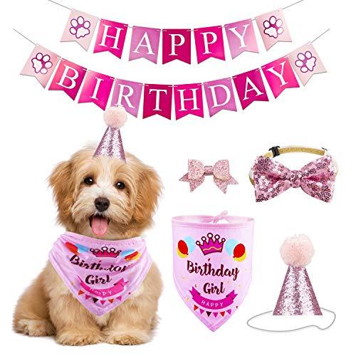 GAGILAND Dog Birthday Bandana Hat Banner Set Dog Boy Girl Cute Bow Tie Scarf Birthday Party Supplies Decorations(Pink, Dog Girl)