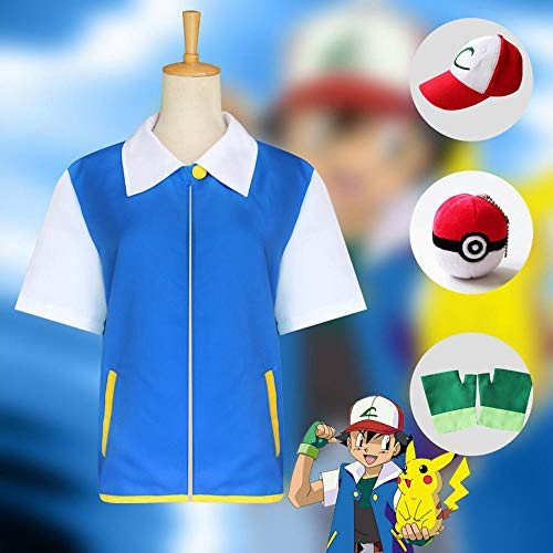 Cosplay Kleidung Pokémon Ash Ketchum Cosplay Anime Dress Up Christmas Halloween-Abendkleid Mit Handschuhen + Hat + Elf-Kugel 130