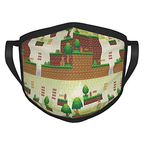 TRUJDNS Gesichtsbedeckung Bodenfliesen Bäume Computer Spielplattform Glückspunkte Videospiele Mundabdeckung Waschbares Tuch Sportmaske für Männer Frauen Radfahren Camping Reisen