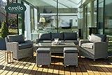 essella Gartenmöbelset aus Polyrattan Lounge Sacramento 7-Personen Rundgeflecht Gartenmöbel/Outdoor Möbel/Balkonmöbel (Grau Weiss)