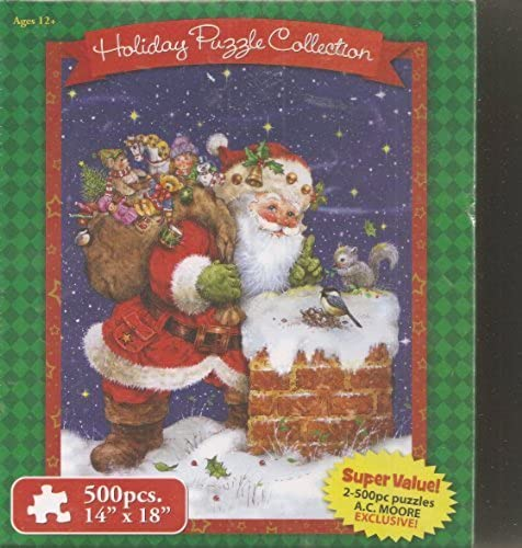 Holiday Puzzle Collection  500 Piece Jigsaw Puzzle (Set of 2)  Bear with Toys   Dogs with Decorated Doghouse by AC Moore