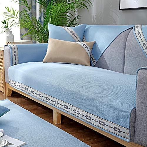 Homeen Protector de sofá, 2/3/4 plazas, funda de sofá cama de verano, funda de sofá universal moderna, azul 90 x 240 cm