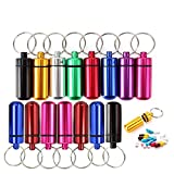 Mini Waterproof Aluminum Pill Container Cache Drug Box with Keychain - Colorful Outdoor Camping Travel Traveling Portable Pill Capsule/Match Case Bottle (15Pc Mini Size, Random Colors)
