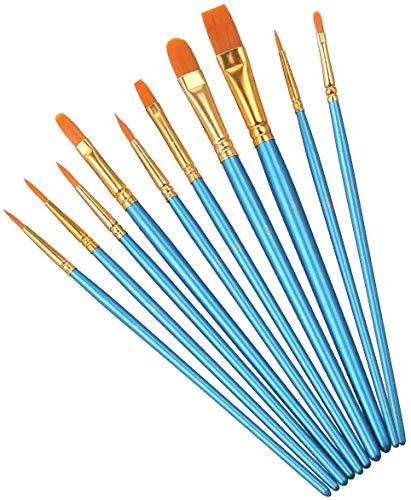 Elisel Paint Brush Set, 10 pcs Nylon Hair Art Paint Brushes for Acrylic Painting for Acrylic Oil Watercolor, Face Nail Art, Miniature Detailing and Rock Painting (Blue)