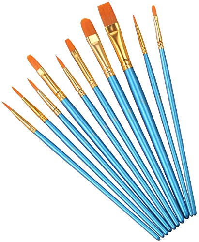 Elisel 10 Pcs Paint Brushes Set Watercolor Brushes Art Paint Brushes for Kids and Adults to Create Art Paint (Blue 10)