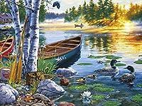 湖の上の2羽のアヒルによる番号キャンバスアートの作成によるDIYペイント、家の壁の装飾、リビングルームとベッドルーム、大人