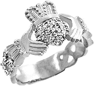 18k White Gold Diamond Pave Claddagh Promise Ring for Women