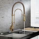 KunMai Single Handle High Arc Swiveling Dual-Mode Pull-Down Sprayer Kitchen Sink Faucet with Porcelain Handle in Polished Gold,Lead-Free Solid Brass Pre Rinse Faucet