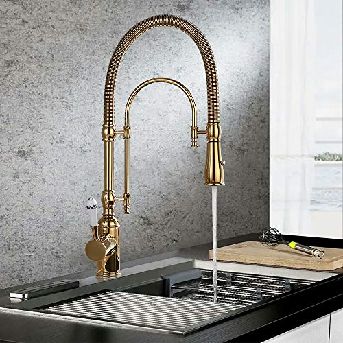 KunMai Single Handle High Arc Swiveling Dual-Mode Pull-Down Sprayer Kitchen Sink Faucet with Porcelain Handle in Polished Gold,Lead-Free Solid Brass Pre Rinse Faucet Mississippi