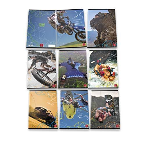 Pigna Maxi Quaderni A4 Extreme Adventure, Confezione da 10 Pezzi, 02307670Q, Quadretto 5 mm; con Margine