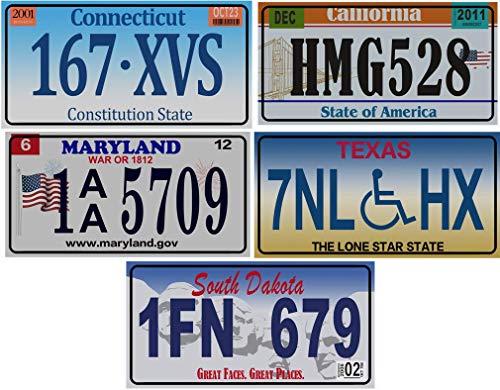 OPO 10 - Los mit 5 USA Autokennzeichen aus Metall - Repliken von echten amerikanischen Kennzeichen (v9)