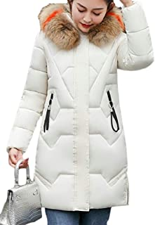 fanmeili-AU Womens Zipper Thicken Winter Padded Faux-Fur Collar Mid Long Length Down Jacket Coat