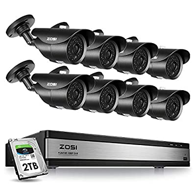 ZOSI 16CH H.265+ 1080P Surveillance Cameras System 2TB Hard Drive 16CH 1080P Security Video DVR Recorder and 8pcs 1080p Indoor Outdoor CCTV Bullet Cameras System,120ft Night Vision,Easy Remote Access