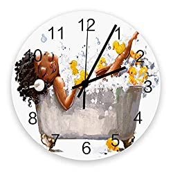 Modern Wall Clock Decor,African Woman in the Bubble Bath Duck Watercolor,Large Wall Clocks(Silent) for Living Room/Bathroom/Kitchen,Battery Operated Wood Round Wall Decorative,12inch,White