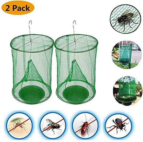 MGQ FlyMax - Reusable Ranch Fly Trap with Bait Tray,Fly Catcher Cage for Indoor or Outdoor Family Farms,Park,Restaurants (2Pack)