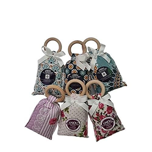 Juego de 6 saquitos perfumados con lavanda y lavandina, con práctico anillo de madera para colgar en azul y rosa, bolsa de 18 g cada una.