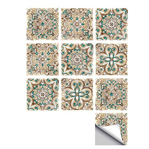 ZYT 20 PCS Adhesif Mural Traditionnel Tuile des Autocollants pour Salle de Bains Et Cuisine Dosseret Décoration (20x20cm) Imperméable Amovible Stickers muraux Décalcomanies,20 * 20CM