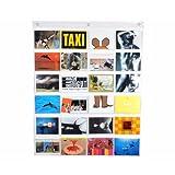 HAB und GUT -DV009- Fotovorhang, durchsichtiger Taschenvorhang mit 24 Taschen, Querformat, Taschengröße 10 cm x 15,5 cm, Länge 79 cm x Breite 63 cm