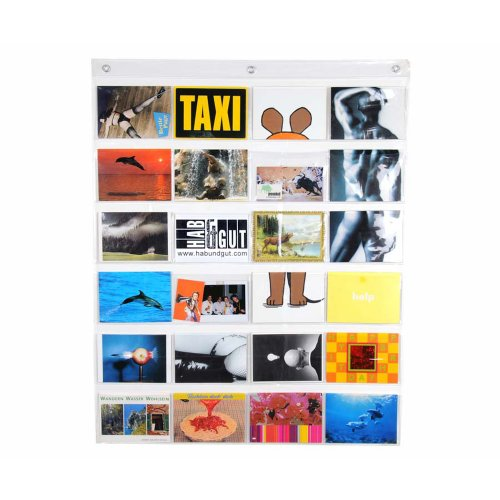 HAB & GUT - DV009 - Portafotos, Cortina de Fotos, plástico Transparente, con 24 Bolsillos para Fotos o Postales, 79 cm x 63 cm
