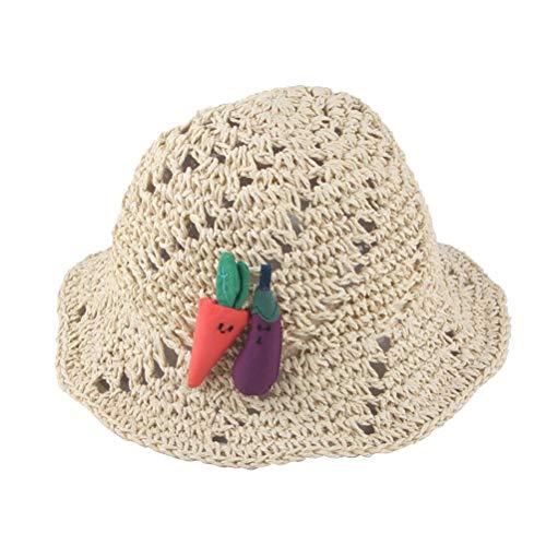 FENICAL Artesanía de los niños Sombrero de Paja Sombrero para el Sol Bebé niña Paja Panamá Sombrero de Cubo para Playa al Aire Libre (Beige)