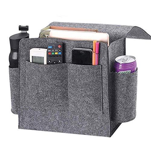 Bolsa de almacenamiento junto a la cama, bolsillos de fieltro, organizador colgante de doble capa para sofá insertado para DVD, revistas, tableta, mandos a distancia