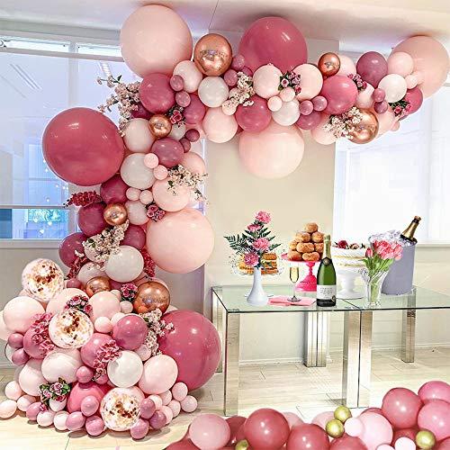 MMTX Kit de Guirlande de Ballon,118 Pièces Décorations de Fête avec Ballon Confettis et Ballon métallique pour Anniversaire Mariage Fond fête décoration Fournitures(Rose)