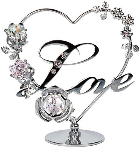 Herz Figur Statue Love mit Kristallen Made with Swarovski Elements - Valentinstag/Jahrestag Geschenk (Silberfarben)