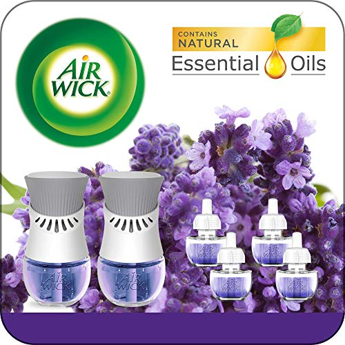 Air Wick Plug in Scented Oil Starter Kit, 2 Warmers + 6 Refills, Lavender & Chamomile, Eco Friendly, Essential Oils, Air Freshener