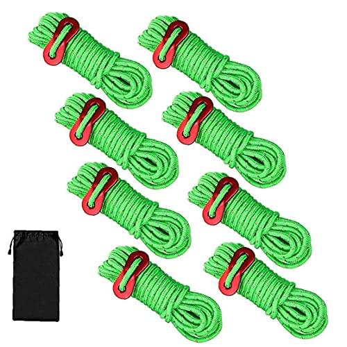 PJKKawesome Tienda Individuo Cuerda Guía Reflectante Cordón Individuo Línea Línea Cuerda De Campamento De Peso Ligero con Ajustador 8pcs