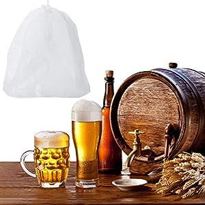 Blulu 4 Pack Large Reusable Straining Bag Nylon Filter Mesh Food Strainer Bag Nut Milk Bag Yogurt Strainer, Sieve Soy…  