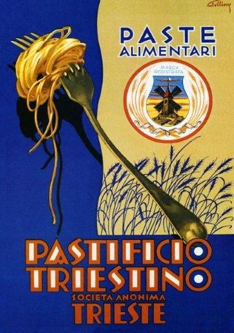 "Pasta Spaghetti Alimentari Pastificio Triestino Trieste, Restaurant or Dining Area Art, Italy Italia Italian 12"" X 16"" Image Size Vintage Poster Reproduction. Available In More Sizes."