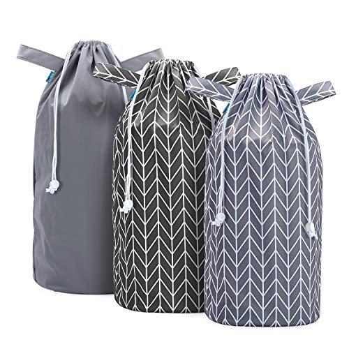 Teamoy Bolsa de Pañales para Bebé Reutilizables, 3 Piezas de Bolsa Lavable para Contenedores de Pañales, Bolsa de Pañales con Cordón, Gris + Negro de Flecha +Gris de Flecha.