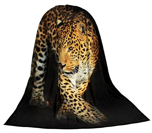 Emanhu Trading Microfaser Kuscheldecke Tagesdecke Wohndecke Decke Tiermotiv Motivdrucke Fotodruck 1,5m x 2m (Leopard)