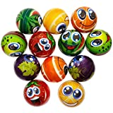 Assorted Styles Fruit Stress Balls. Package included - 24 pcs Colorful Fruit Stress Balls. Fruit balls.Squeeze balls include grapes, tomatoes, watermelon, lemons, kiwifruit.Cute emojis and bright colors will make them a hit with all ages. Size: Ball ...