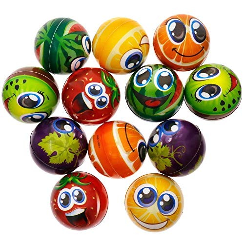 MyMagic 24 Pcs 2.5 inch Soft PU Squeeze Ball ,Fruit Stress Balls to Release Stress , Therapeutic Educational Balls (Assorted )