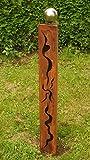 Gartendeko Rost Eisen Säule 100cm mit Muster und Edelstahlkugel