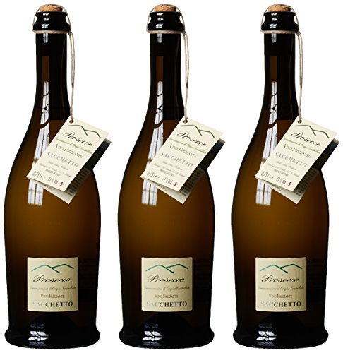 Sacchetto Colli Prosecco DOC Vino Frizzante 2015, 3er Pack (3 x 750 ml)