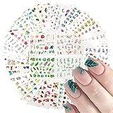 VEGCOO 84 Hojas Pegatinas Uñas, Nail Art Stickers Pegatinas Decorativas Uñas, Flores Hojas Mariposas Flamencos Animales 3D Uñas Art Pegatinas Autoadhesiva Decorativas