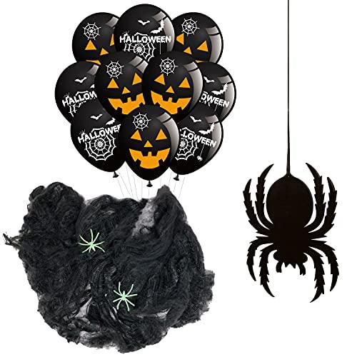 Red de araña con arañas + 10 globos + 1 posavasos de fieltro – Decoración colgante