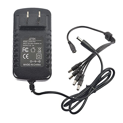 JZTEK Security Camera Power Adapter 12V 2A 100V-240V AC to DC 2.1x5.5mm w/ 4-Way Power Splitter Cable FCC Certified LED Power Adapter Transformers-Fits Analog/AHD DVR/Camera, RGB LED Strip Lights