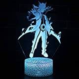 ALTcompluser 3D Optical Illusion LED Nachtlicht Lampe, Anime Naruto Nachttischlampe Touch Dimmbar...