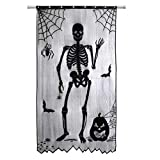 Enfudid Halloween Curtains Black Lace Skeleton Window Curtains for Halloween Decorations Party Prop 4081inch