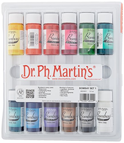 Dr. Ph. Martin's Bombay India Ink (Set 1) Ink Set, 0.5 oz, Set 1 Colors, 1 Set of 12 Bottles