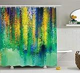 N \ A Duschvorhang mit Wasserfarben-Blume, abstrakter Stil, Frühlingsblumen-Aquarell-Stil, Gemälde, Naturkunst, Stoff, Badezimmerdekor-Set mit Haken, 152,4 x 182,9 cm, grün-gelb