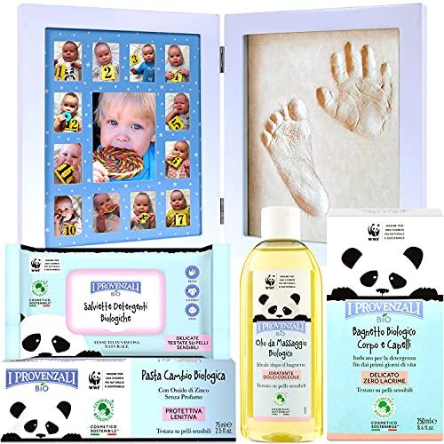 Canastilla Bebé con Marco Huella y Pie y 4 Productos BIO