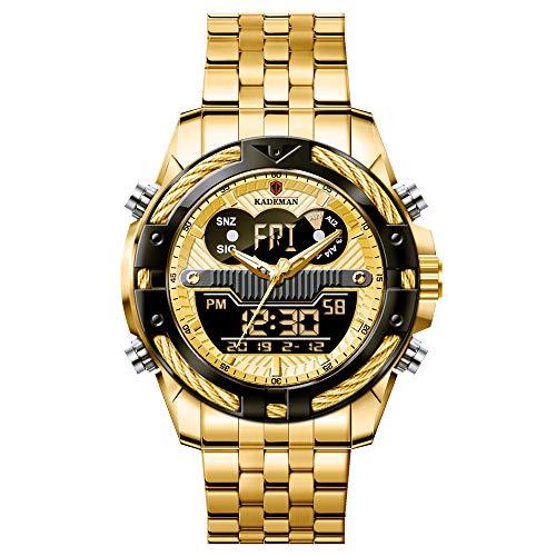 Relojes De Pulsera para Hombre Reloj De Cuarzo Digital Analógico Correa De Acero Inoxidable Dial LCD Resistente Al Agua con Calendario Y Función De Alarma para Adolescentes Decoración Al Aire Libre