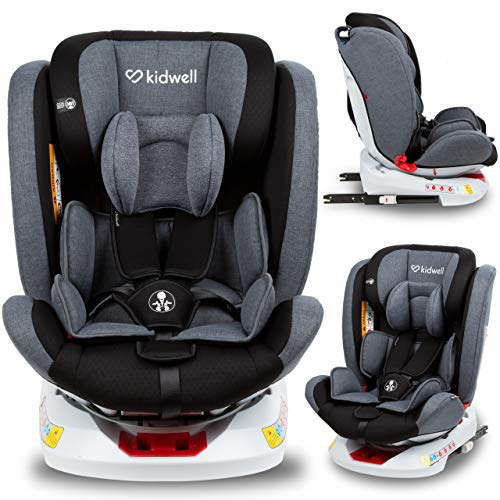 KIDWELL ORBIT Autositz 360° drehbar Kindersitz 0-36 kg mit Isofix | 0-11 Jahren | Gruppe 0/0+ / 1/2/3 | mit 5-Punkt-Gurtsystem | verstellbare Kopfstütze | stabil & sicher | Grau